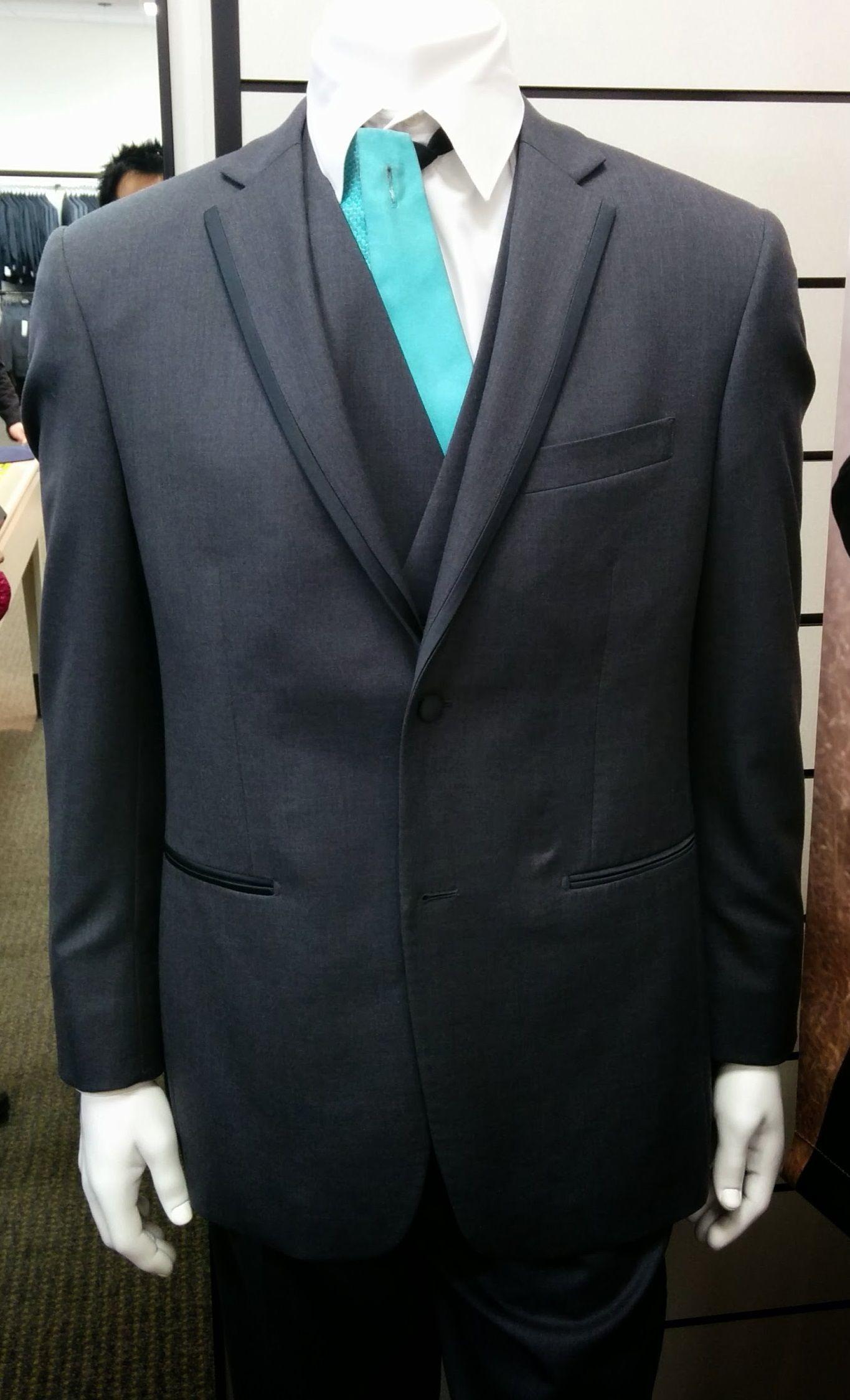 Mens wearhouse Vera Wang Grey suit tuxedo rental w/ spa