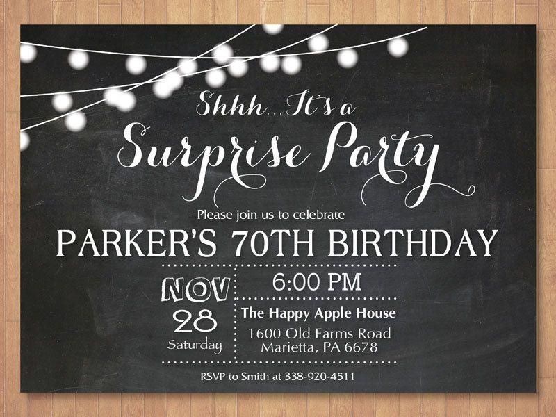 surprise 70th birthday invitation chalkboard 30th 40th 50th 60th