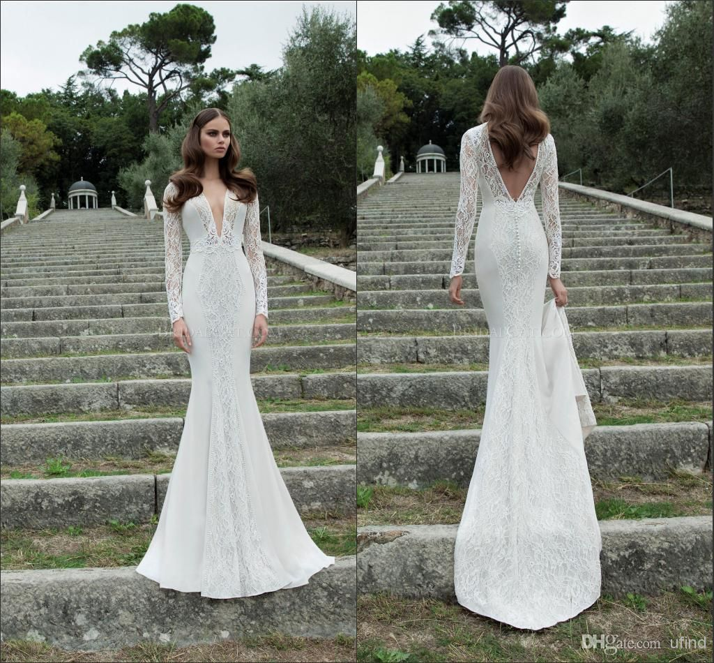2014 Berta Deep V Neck Lace And Satin Pearls Hollow Long Sleeves Fitted Fish Style Wedding Dresses Backless Chapel Train Bridal Gown Bri 288 From Ufind 216 09 Bridal Gowns Mermaid Lace [ 950 x 1024 Pixel ]