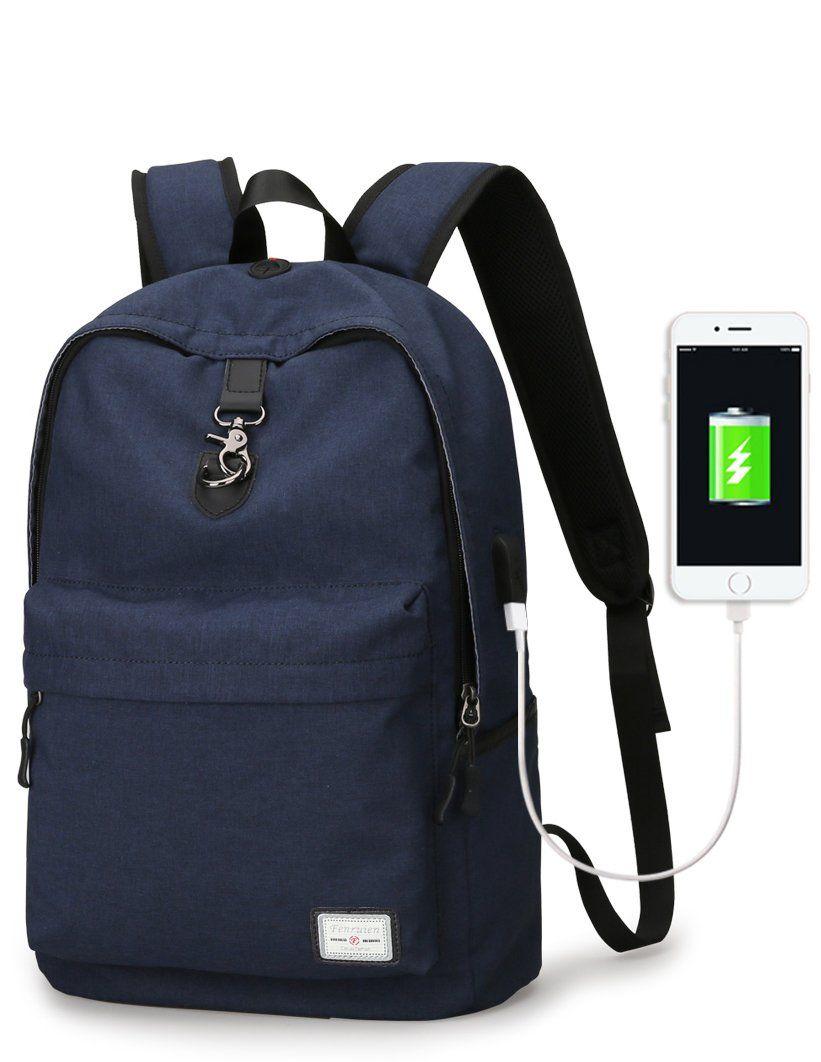 Laptop BackpackUpoalker Anti Theft Travel Backpack With USB Charging Port School Bookbag