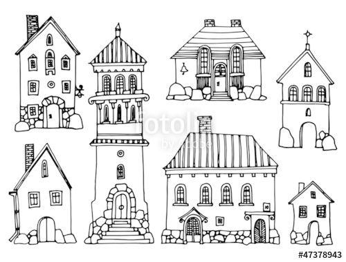 Vector: Cartoon hand drawing houses frame