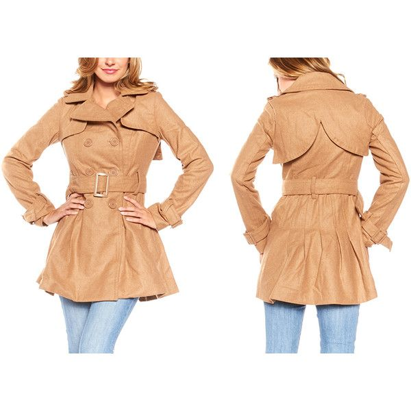 Stylish Flared Peacoat: L-JW2018: Camel/Large, Women's ($40) ❤ liked on Polyvore featuring outerwear, coats, brown, brown coat, camel coat, pea coat, camel pea coat and flared coat