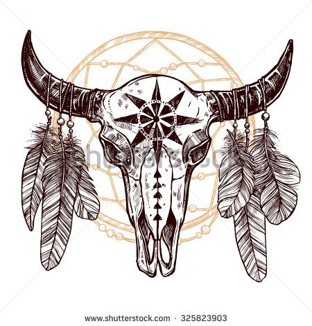 Buffalo Skull With Feathers And Dreamcatcher Hand Drawn Sketch Native American Totem Native American Tattoos American Tattoos Bull Skull Tattoos