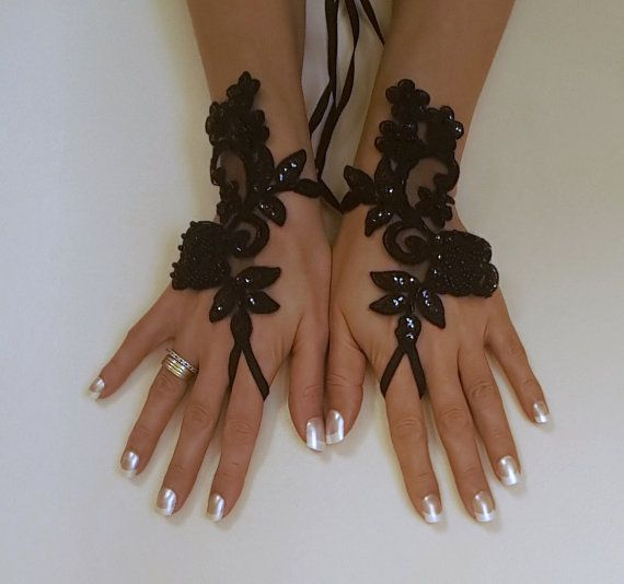Rose Goth Gothic Lace Black Wedding Gloves Bridal Fingerless Halloween Costume French Beaded Embrodeired Free Ship