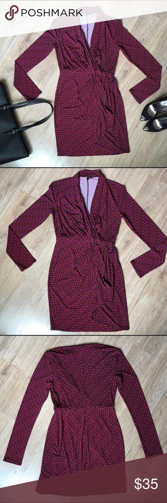 Victoriaus secret print fauxwrap dress faux wrap dress red