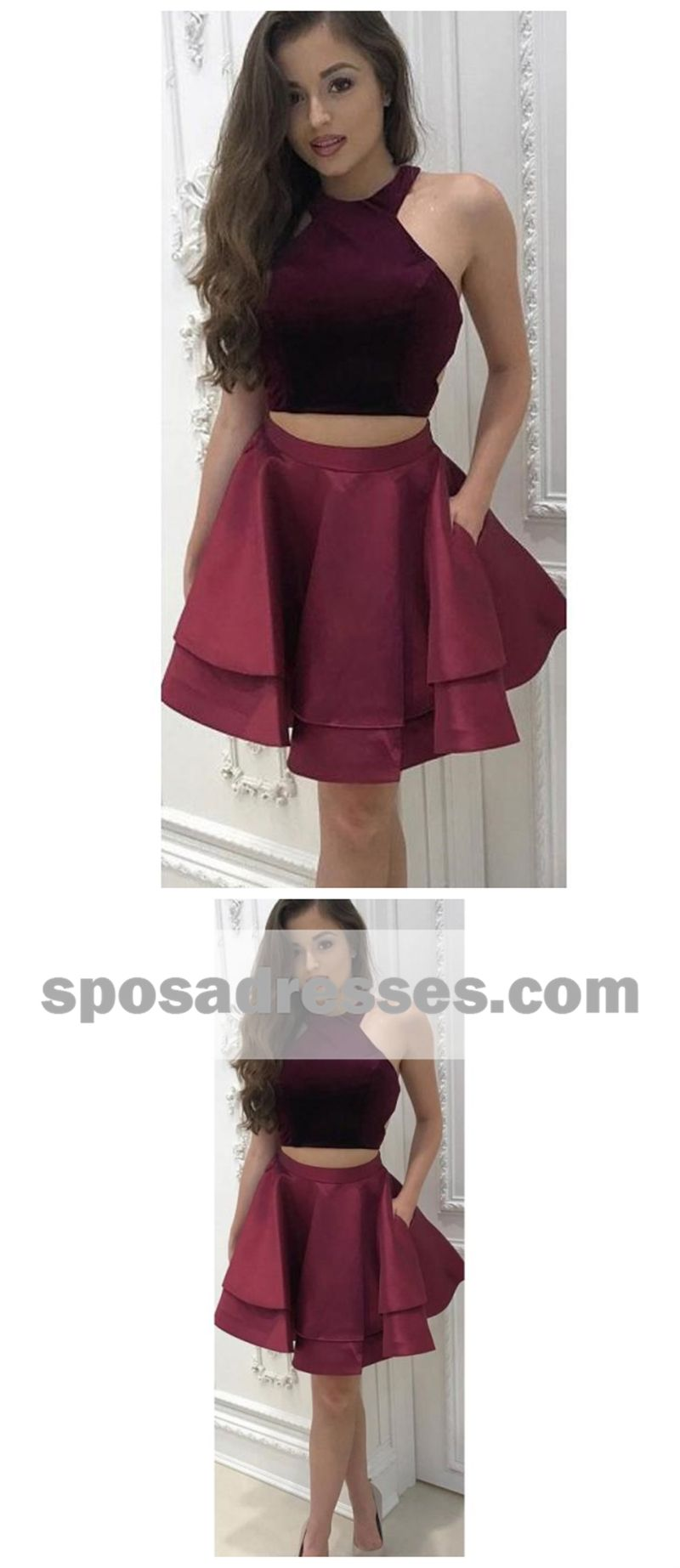 Sexy two pieces simple cheap halter dark red short homecoming