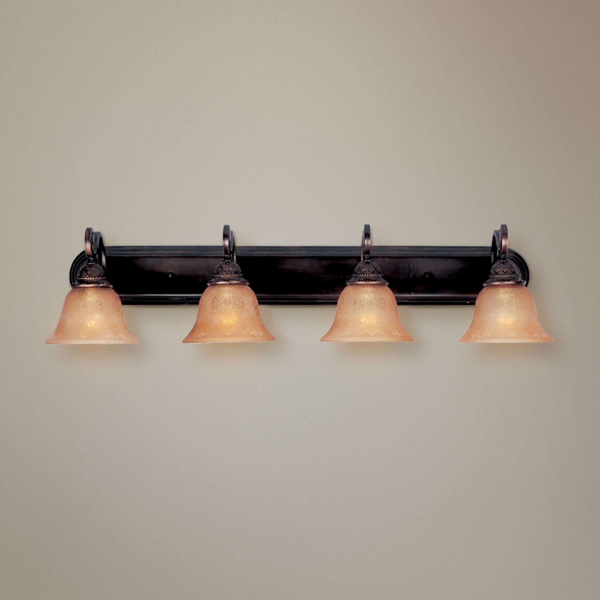Photo of Symphony Oil Rubbed Bronze bathroom lamp with four light sources