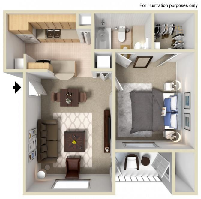 1 Bedroom 1 Bathroom 560 Sq Ft Small Apartment Floor Plans Apartment Layout Small Apartment Layout