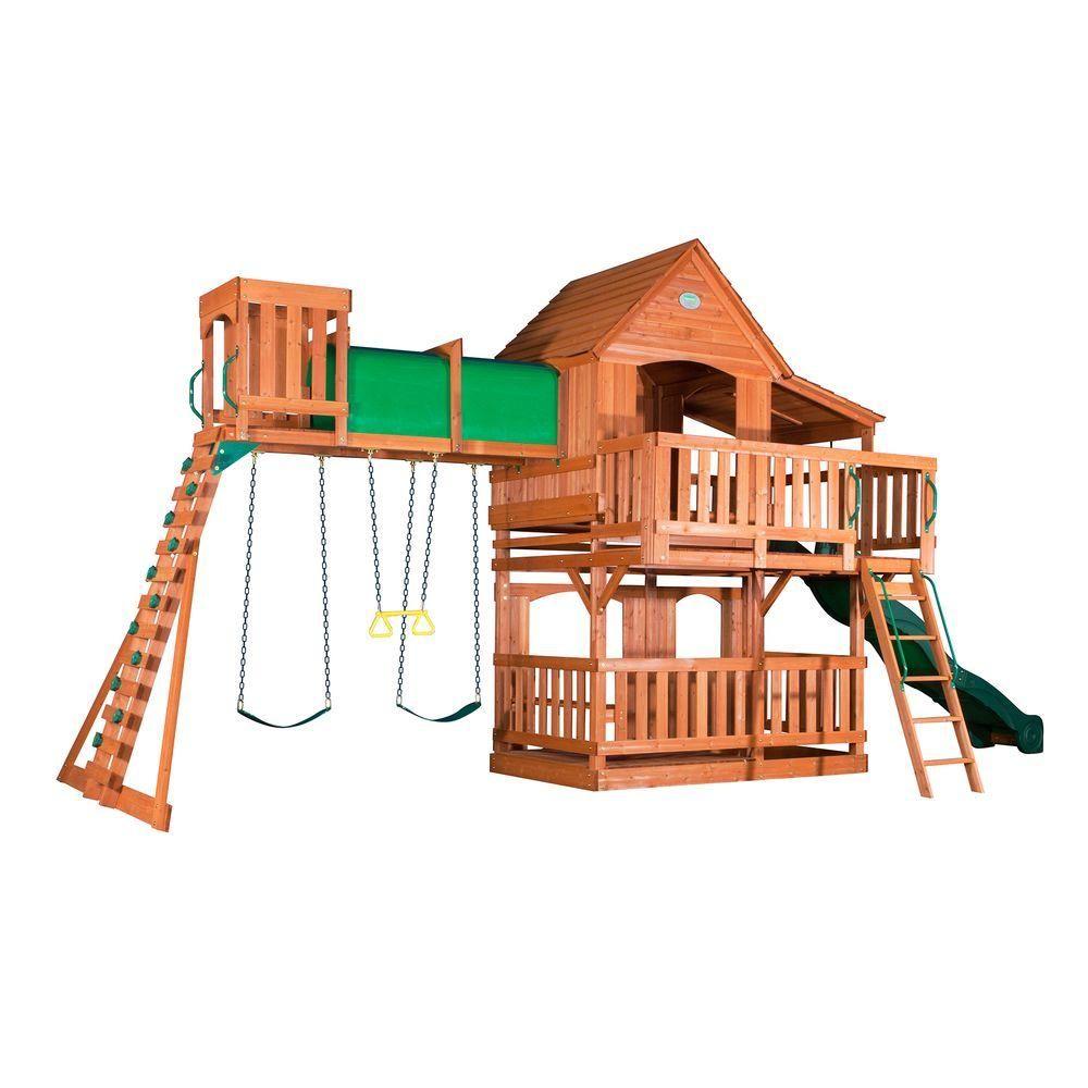 Backyard Discovery Woodridge Residential Wood Playset With Swings