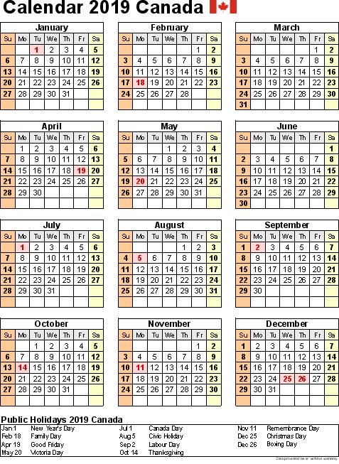 Canada Calendar 2019 Canada 2019 Holidays Calendar Portrait #CanadaCalendar