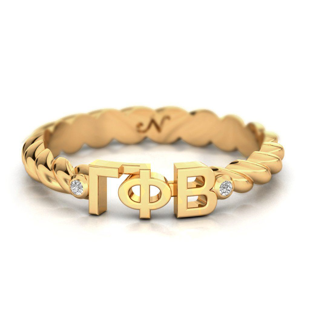 Gamma Phi Beta Yellow Gold Pavé Twist Letter Ring #14k-yellow-gold-vermeil…