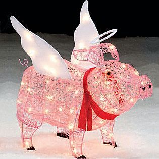 Trim A Home®  28u201d Lighted Angel Pig Outdoor Christmas Decoration