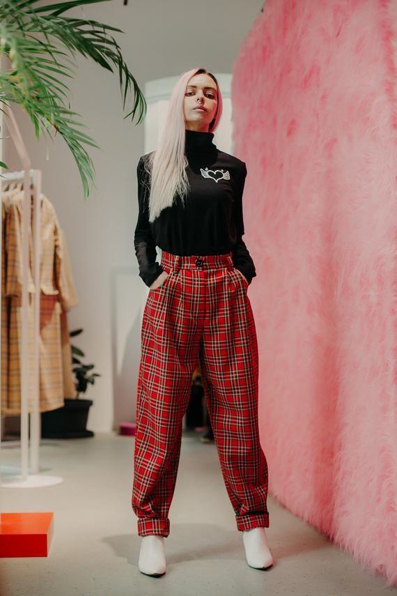 113fb6bcb 90's aesthetic Pants, Banana Pants, Women's Trousers, High waist pants,  Scottish plaid, Red checkere