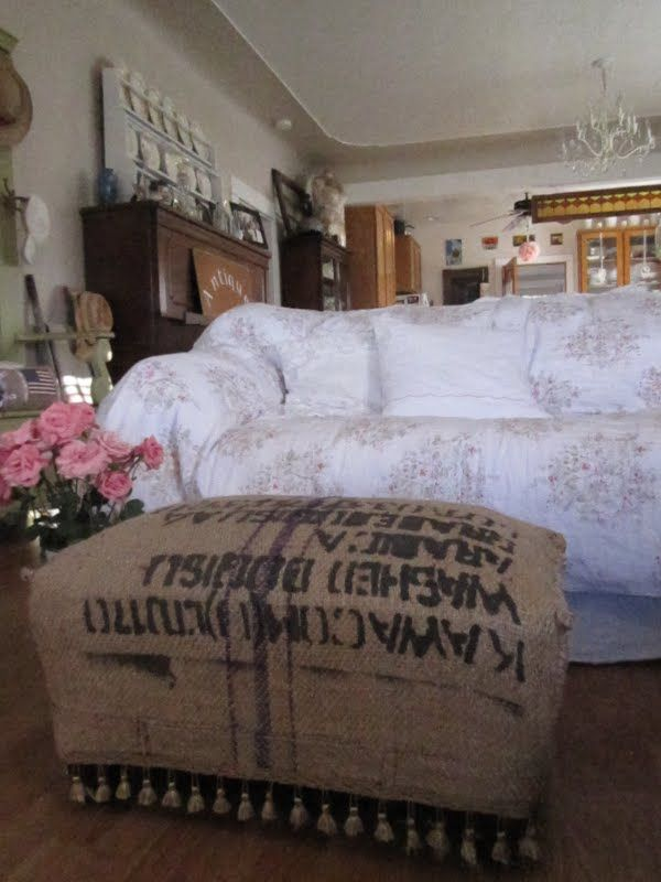 French grain sack ottoman cover..sweet!
