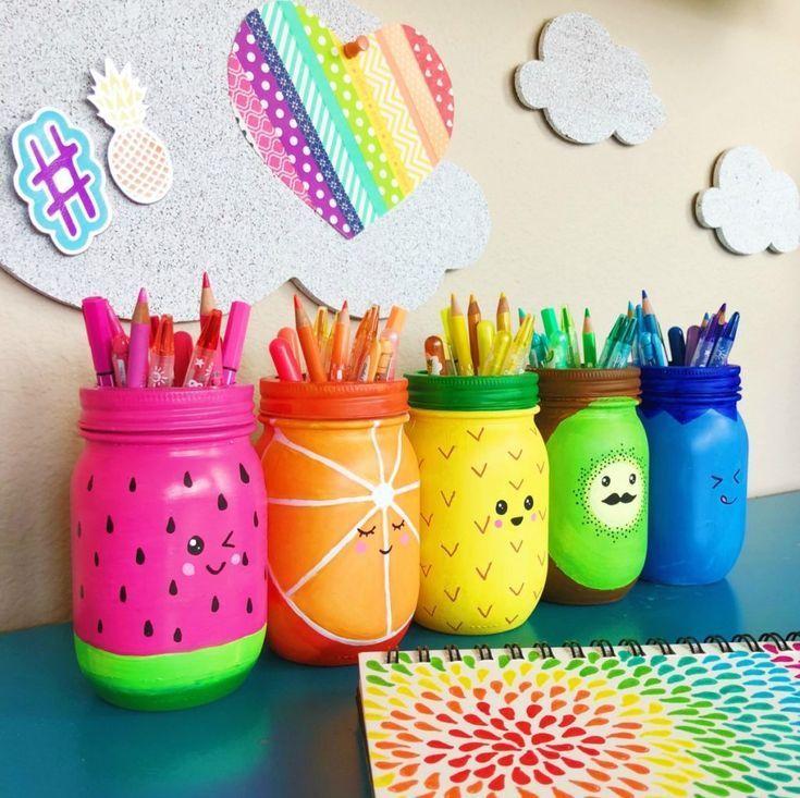 Regenbogenfrucht Einmachglas Craft Stifthalter #masonjardiy
