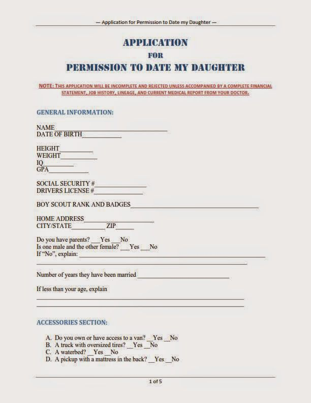 Application Form To Date My Daughter  Funnies    Funny