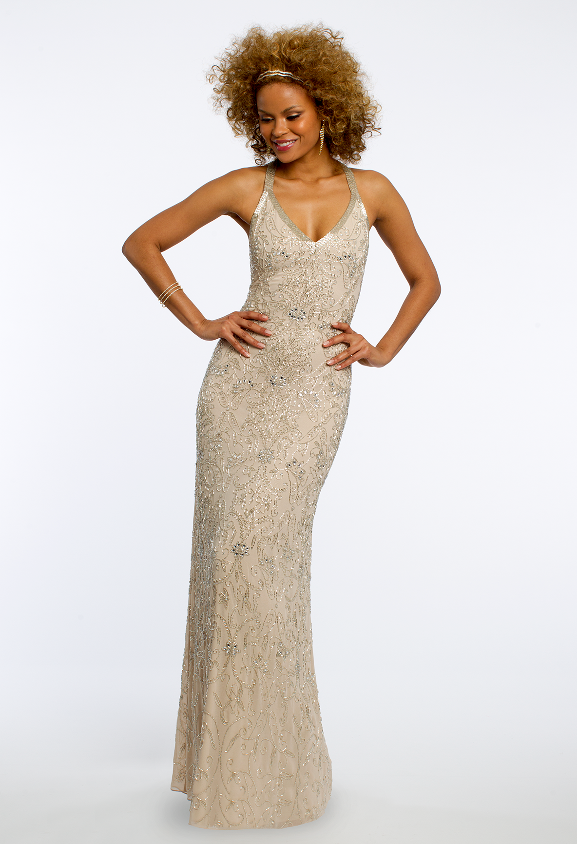 Mesh halter dress with beaded motif camillelavie clvprom