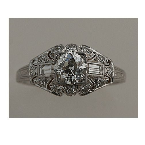 Art Deco engagement ring $5,499 .75 cts, H, SI1