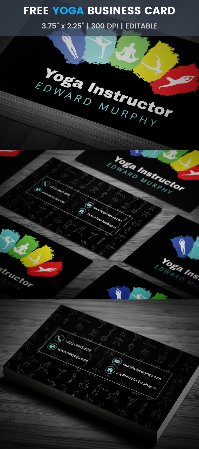 Free yoga therapy business card card templates business cards and multicolor yoga instructor business card template yoga design reheart Image collections