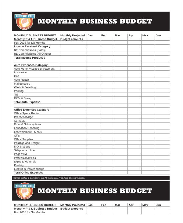 Business Monthly Budget Template , 18+ Monthly Budget Template Excel ...