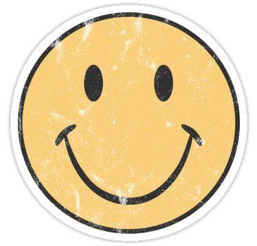 yellow smiley face  retro smiley face  sticker