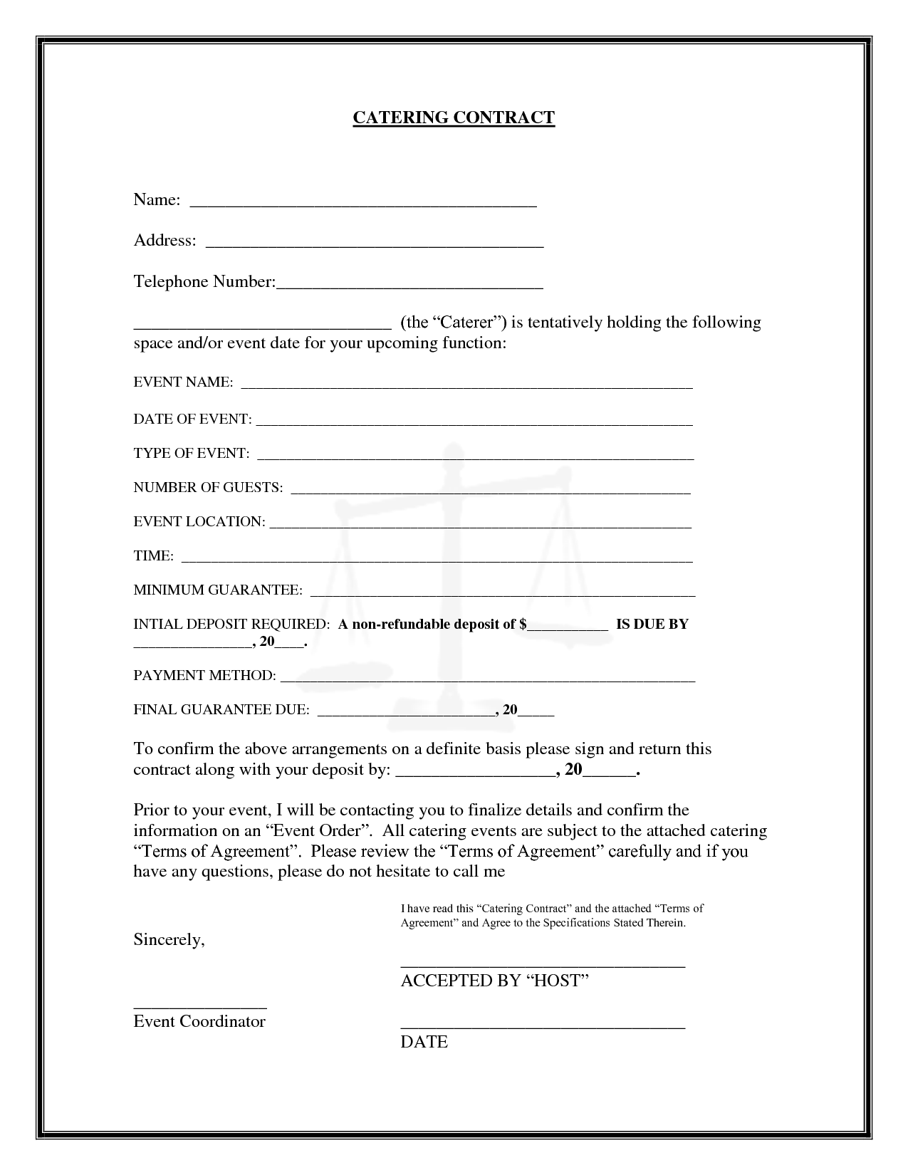 catering agreement template template catering agreement template