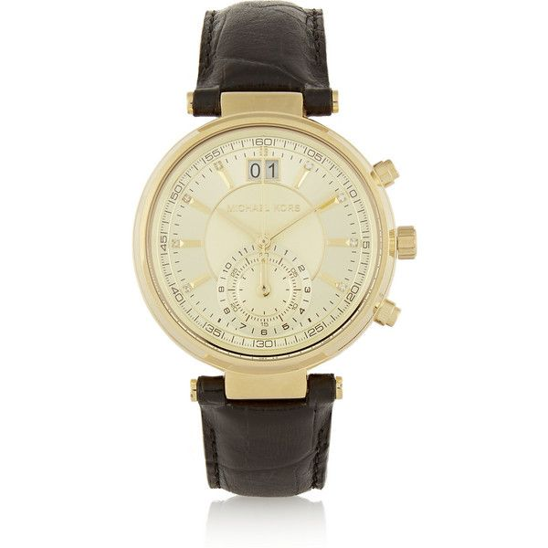 Michael Kors Sawyer croc-effect leather and gold-tone watch (6,620 MXN) ❤ liked on Polyvore featuring jewelry, watches, michael kors, gold, leather jewelry, vintage style jewelry, black leather wrist watch, michael kors watches and gold tone jewelry