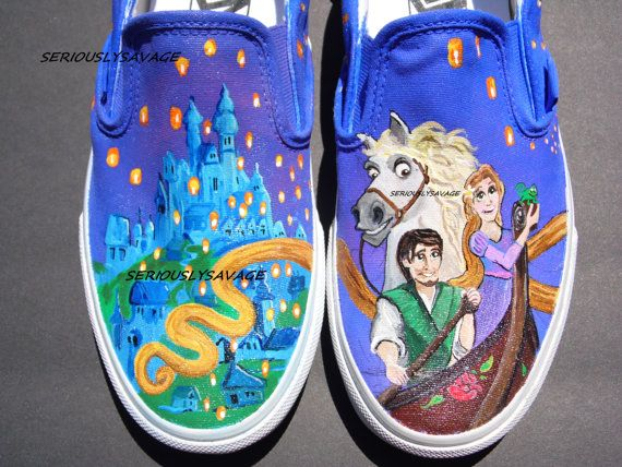 468dfc55237 Custom Painted Shoes Disney Tangled Rapunzel Flynn Rider Horse Pascal TOMS  VANS on Etsy