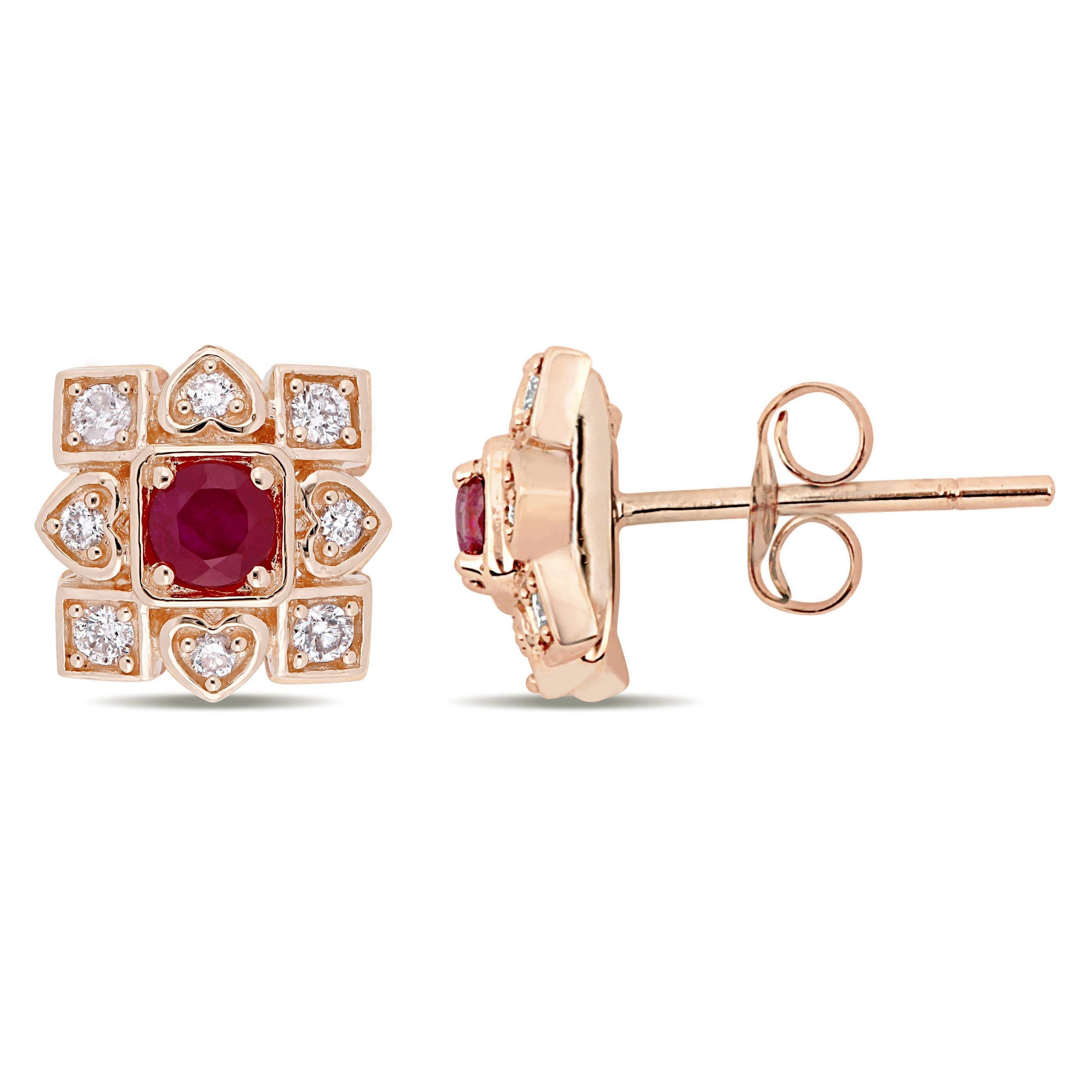 Everly Diamond Ruby Stud Earrings In 10k Rose Gold Ruby Earrings Studs Stud Earrings Diamond Earrings Studs