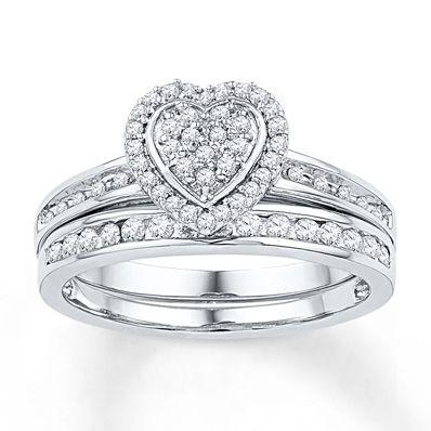 Jared Diamond Bridal Set 15 ct tw Roundcut 10K White Gold
