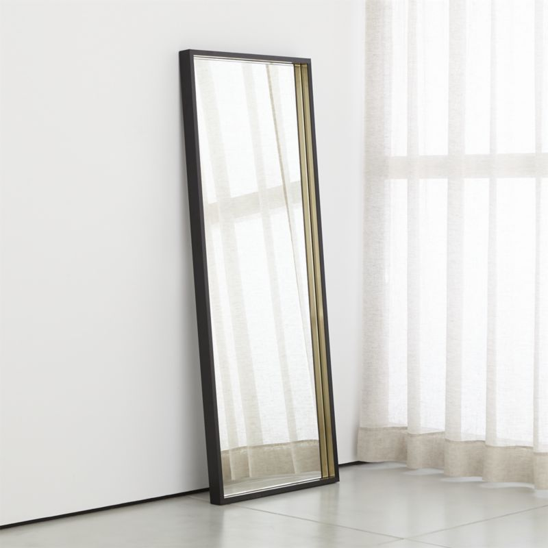 Liam Black Frame Floor Mirror With Brass Inlay Reviews Crate And Barrel Floor Mirror Black Mirror Frame Over The Door Mirror