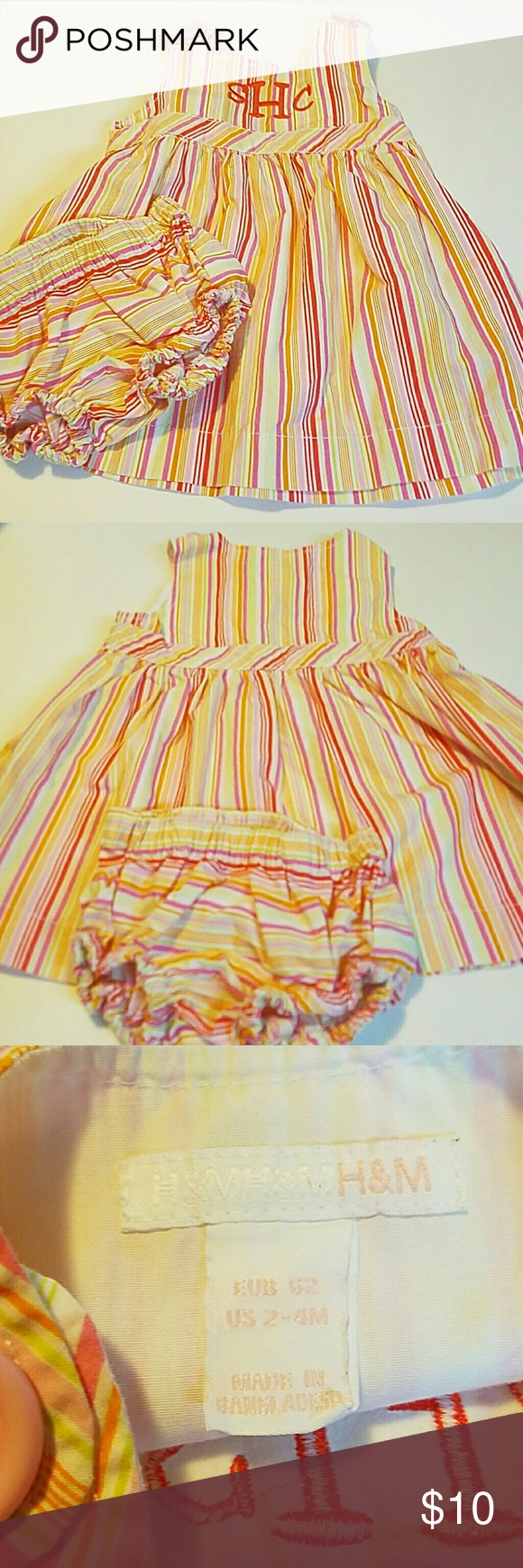H&M Striped Baby 2-piece dress White with pink and orange stripes buy H&M embroidered in front in excellent condition H&M Dresses Casual