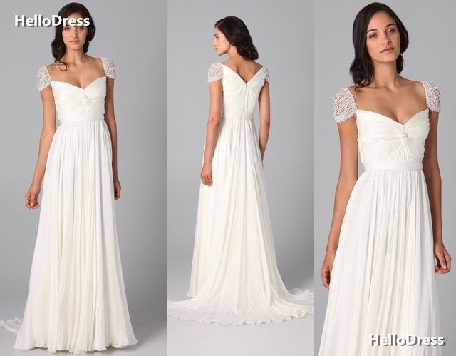 Cap+Sleeves+with+Pearls+Ruched+Bridal+Dress+White+Prom