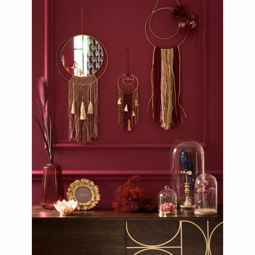 Gold and Antique Pink Metal Dreamcatcher Mirror in 2020
