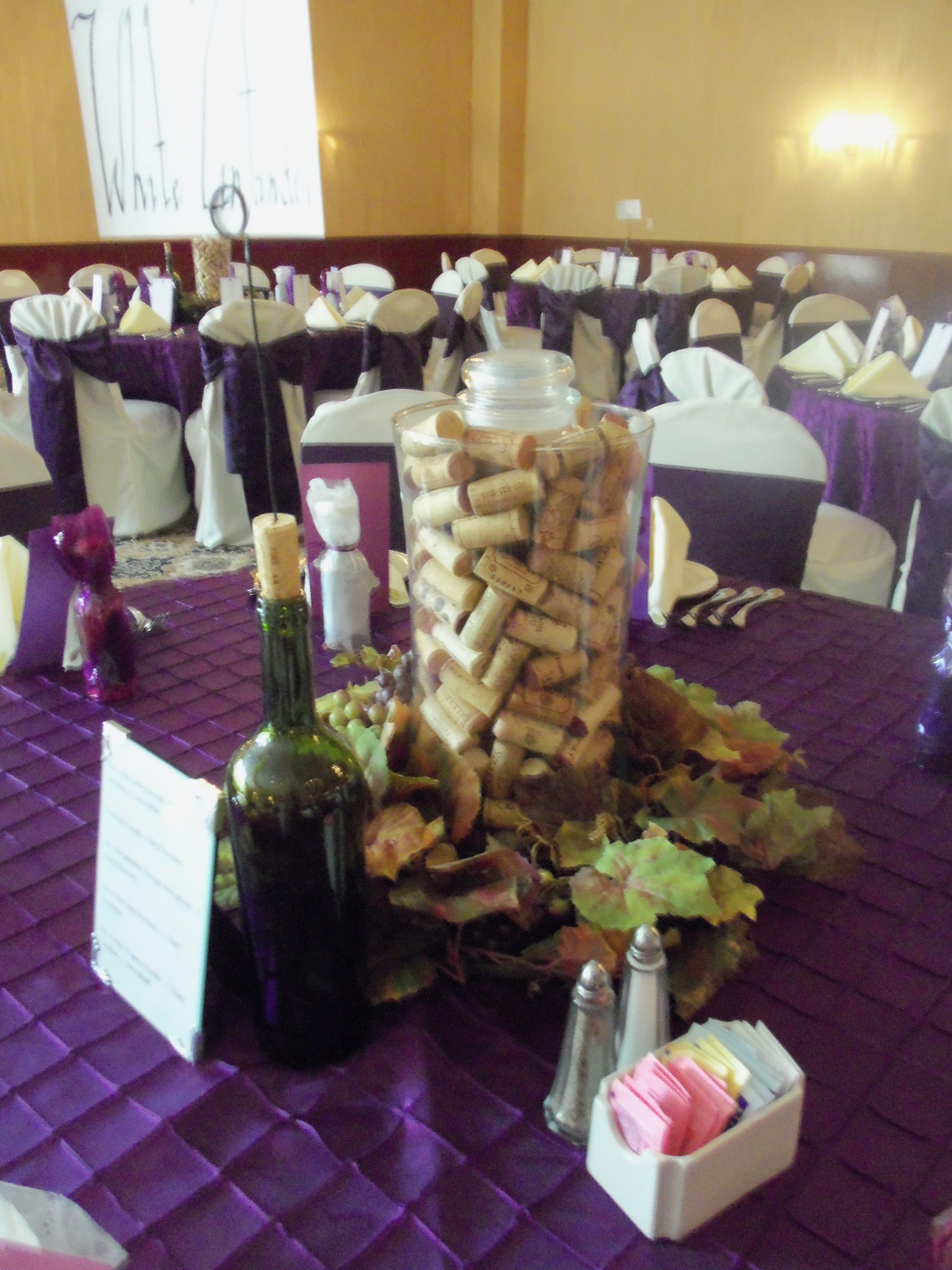 wine themed wedding centerpiece