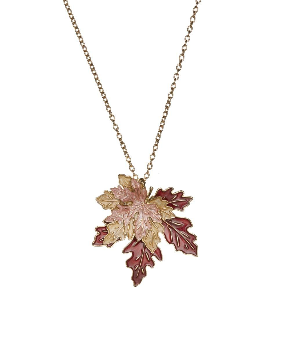 Bubbly Bows Brown Leaves Pendant Necklace | zulily  . $9.99 Compare at $16.00 Product Description:  Delicate autumn leaves are showcased in this forest-inspired fashion find.      Chain: 29'' L with 3'' extender     Pendant: 2.5'' D     Lobster claw clasp     Zinc alloy     Imported