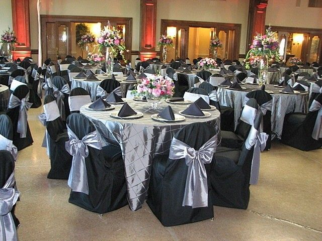 Disposable Silver And Black Wedding Table Cover Steel Ay Linens With