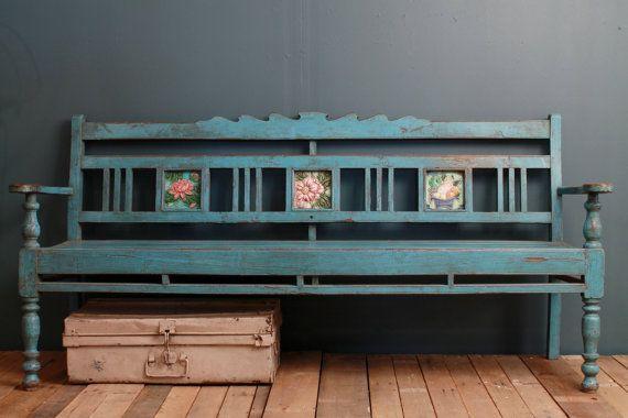 Restored Antique Indian Distressed Blue Indoor Outdoor