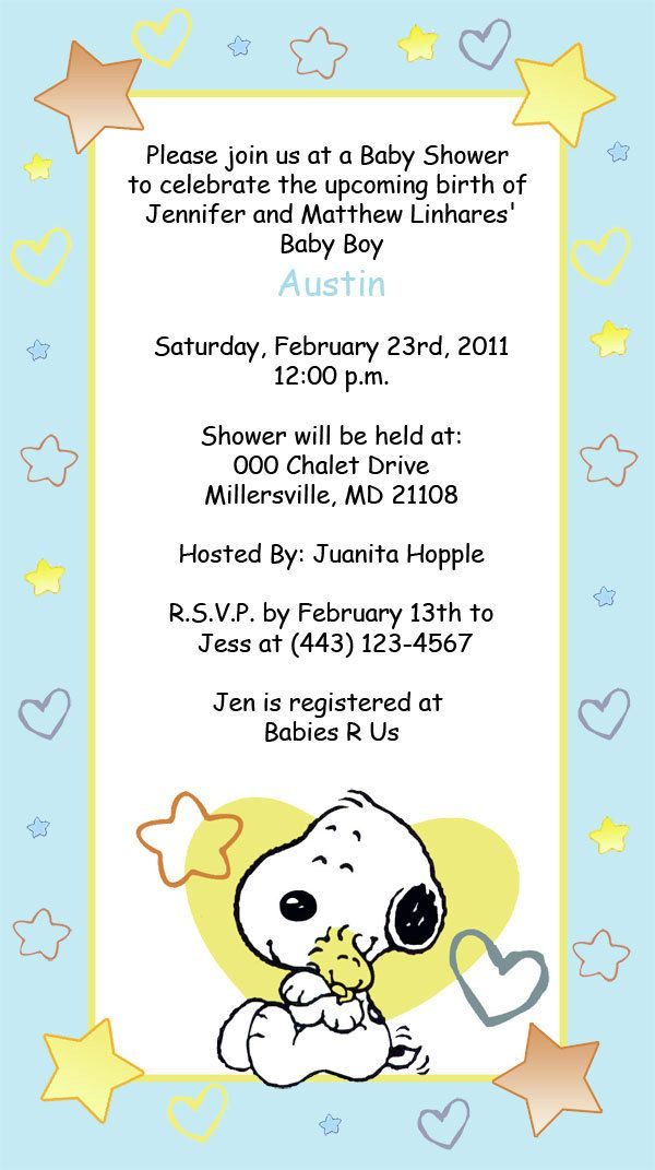 Snoopy, Baby Snoopy Invitations Invitations girl boy or nuetral. %s ...