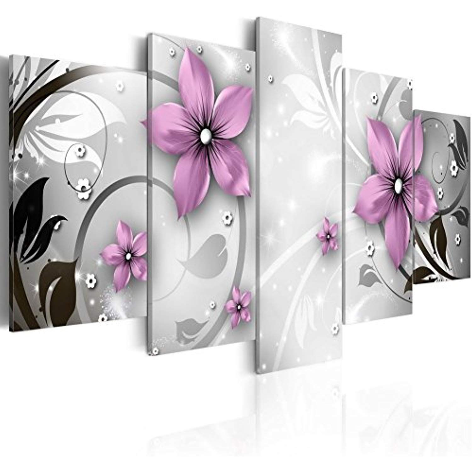 Giant Saucy Flower Canvas Wall Art Print Purple Floral Painting Modern Picture 5 Panel Home Decor Hd White Ove Flower Canvas Wall Art Flower Canvas Wall Canvas