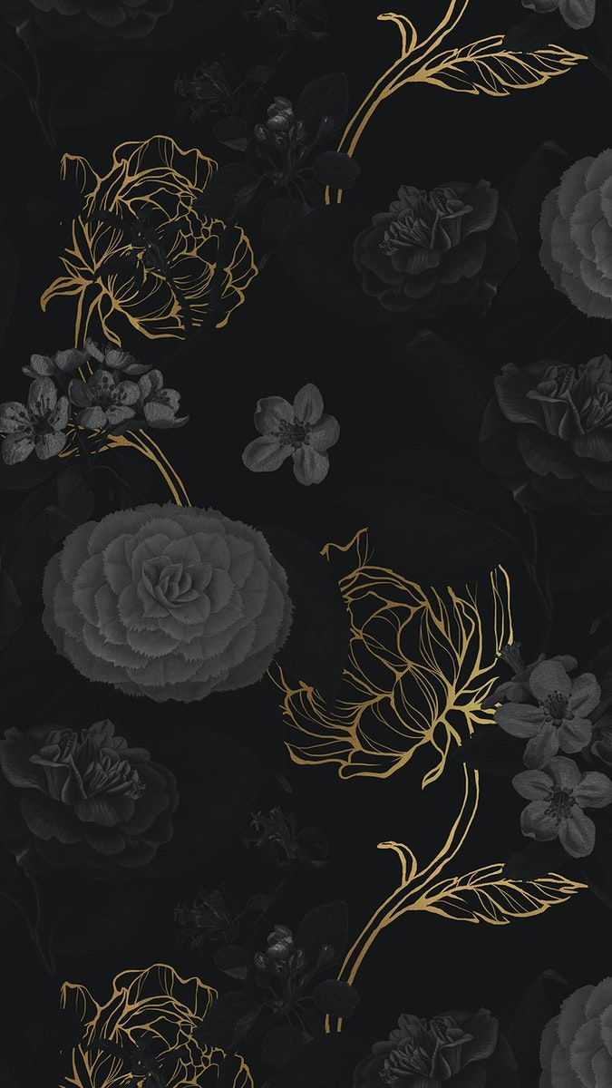 Download premium image of Hand drawn dark and gold flower patterned background by Benjamas about iphone flowers wallpaper, gold leaves iphone, peony, Black flowers iPhone wallpaper, and dark flower background 2398227