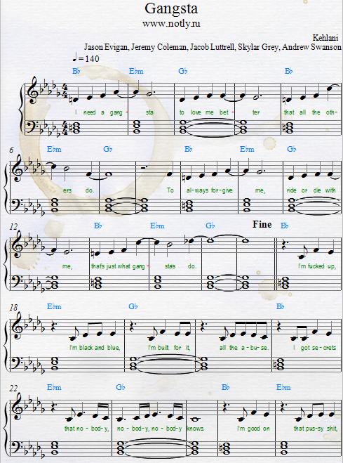 Kehlani — Gangsta Download PDF Piano Sheet Music