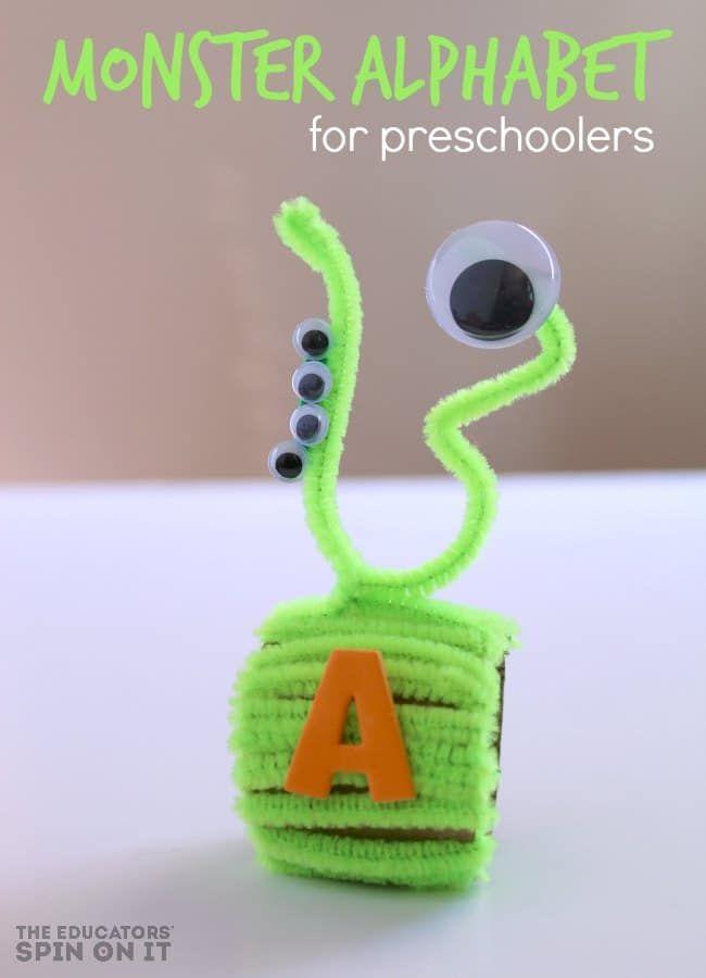 Monster Themed Name Necklace Craft For Preschoolers Alphabet Activities Alphabet Activities Preschool Preschool Crafts Name necklace activity for kindergarten