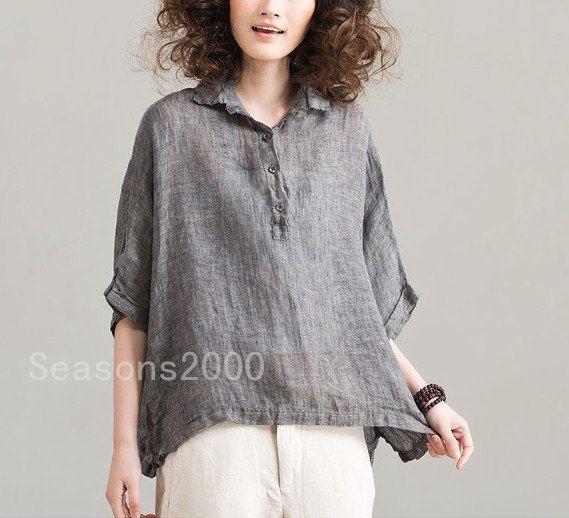 loose fitting women retro gray linen shirt 1/2 sleeve shirt flax shirt casual loose shirt linen top Natural linen Sunscreen shirt / top