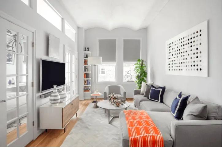 Long And Narrow In 2020 Narrow Living Room Small Apartment Living Room Small Living Room Design