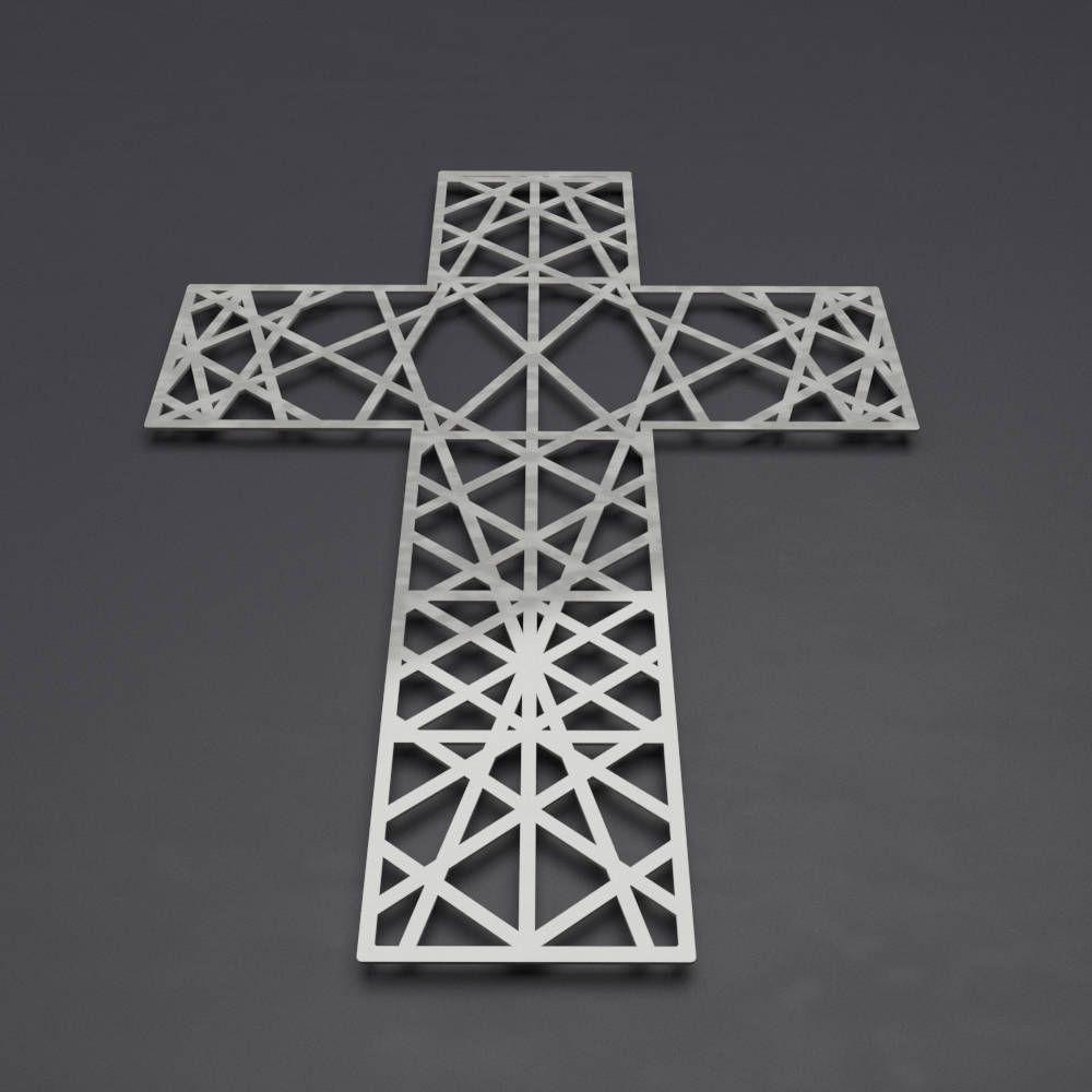 Modern metal wall cross sculpture large wall cross christian home