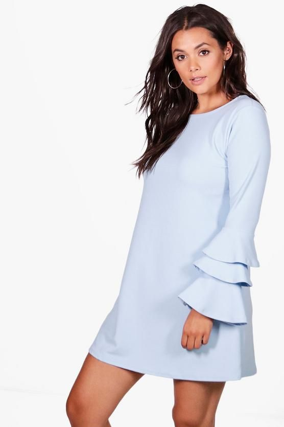 Plus Bianca Frill Sleeve Shift Dress | Boohoo