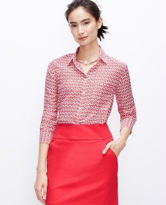 40172a5e473626 Heart Scroll Boyfriend Shirt | Red | Boyfriend shirt, Shirts, Tops