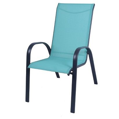 Stack Sling Patio Chair Turquoise Room Essentials With Images Patio Chairs Stacking Patio Chairs Outdoor Dining Chairs