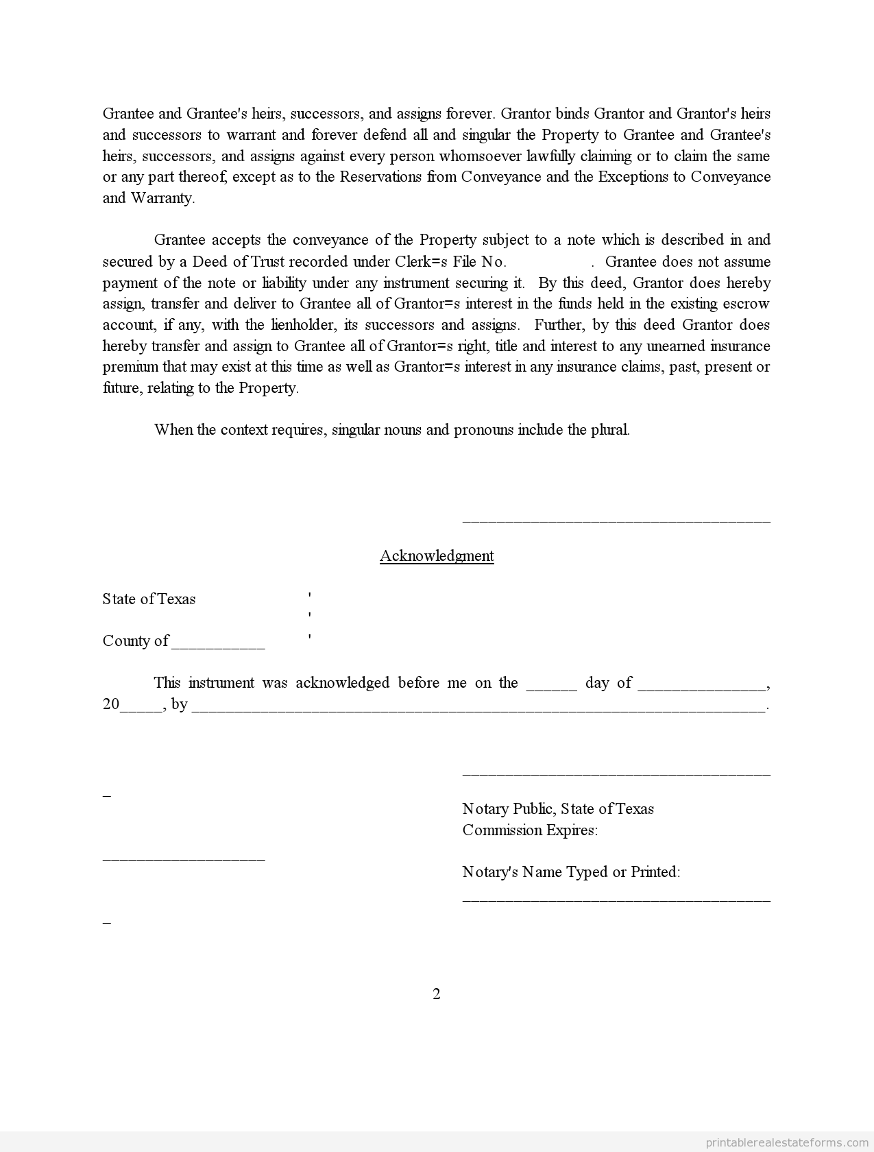 Printable Deed Subject To Template   Sample Forms